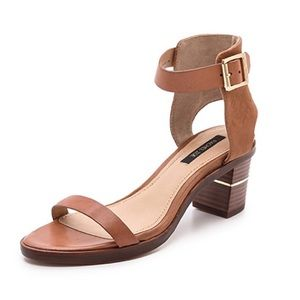 Rachel Zoe Colbie Mid Heel Sandals in Sand/Tan